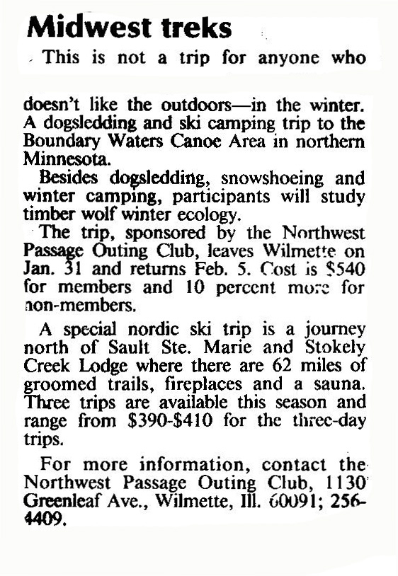 "The Chicago Tribune, ""Midwest Treks"", 11.27.88"