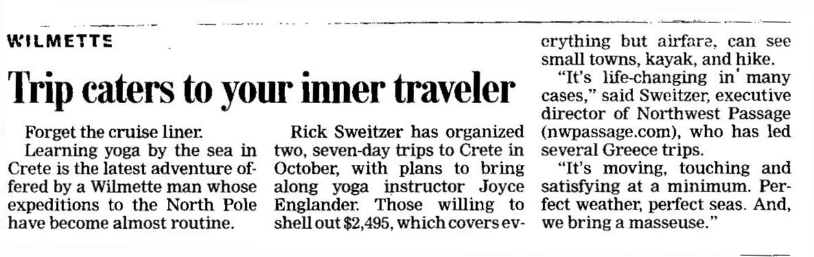 "Chicago Tribune May 8, 2005 ""Trip Caters to your Inner Traveler"" - Crete yoga"
